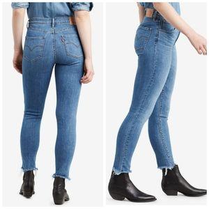 Levi's 721 High Rise Skinny Chewed Raw Hem Jeans